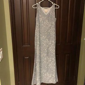 J. Jill Floral Blue Silk Maxi Dress